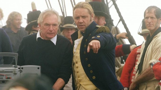 Peter Weir and Russel Crowe behind the scenes of Master and Commander: The Far Side of the World